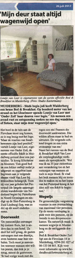 Bed and Breakfast Onder Zeil in Muiderberg in de krant